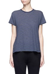 Vince Stripe Pima Cotton Jersey T Shirt Blue