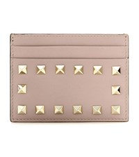 Valentino Rockstud Leather Card Holder Beige