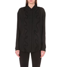 Anthony Vaccarello Frill Detail Woven Shirt Black