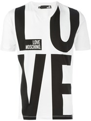 Love Moschino Logo V Neck T Shirt White