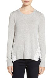 Chelsea 28 Women's Chelsea28 Lace Back Sweater Grey Light Heather