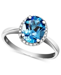 Macy's 14K White Gold Ring Blue Topaz 2 Ct. T.W. And Diamond Accent Oval