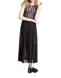 Tracy Reese Flared Stripe Lace Frock Black