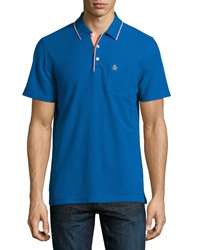 Penguin Contrast Tipped Merle Polo Shirt Classic Blue