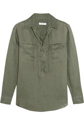 Equipment Knox Lace Up Linen Shirt Forest Green