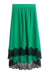 Zadig And Voltaire Silk Skirt With Lace Green