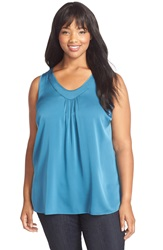 Classiques Entier Ruched V Neck Stretch Silk Top Plus Size Teal Steel