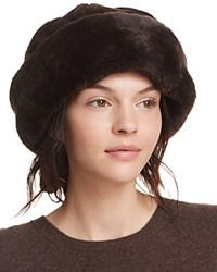 Surell Shearling Sheepskin Snowball Hat Brown