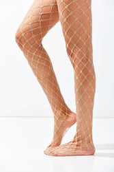 Urban Outfitters Exaggerated Diamond Fishnet Tight Beige