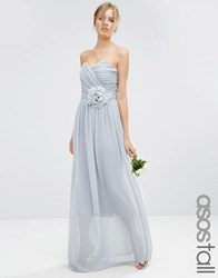 Asos Tall Wedding Chiffon Bandeau Maxi Dress Grey