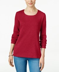 Karen Scott Long Sleeve Scoop Neck Top Only At Macy's New Red Amore