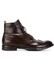 Officine Creative Perforated Lace Up Ankle Boots Brown