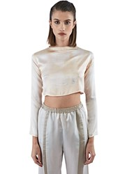 Calyx Silk Cropped Pyjama Top Neutrals