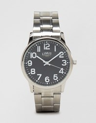 Limit Silver Bracelet Watch With Black Dial Exclusive To Asos Silver