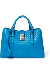 Bottega Veneta Roma Small Intrecciato Leather Tote Blue