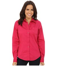 Cinch Cotton Plain Weave Fit Pink Women's Long Sleeve Button Up