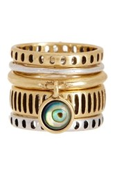 Lucky Brand Two Tone Stack Ring Set Size 7 Multi
