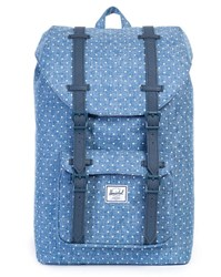 Herschel Blue Denim Little America Backpack With White Dots Mv 17 L