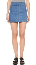 Free People Zip To It Denim Miniskirt Chloe
