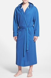 Majestic International Pique Cotton Hooded Robe Deep Water