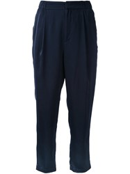Cityshop Satin Cropped Trousers Blue
