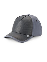 Original Penguin Jaffe Cotton And Woven Faux Leather Baseball Cap Black