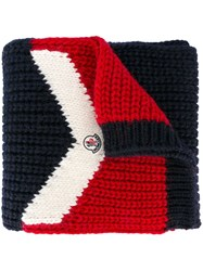 Moncler Tri Colour Knitted Scarf Blue