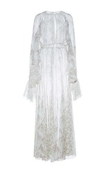Giambattista Valli Front Slit Floral Column Dress With Lace Detail White
