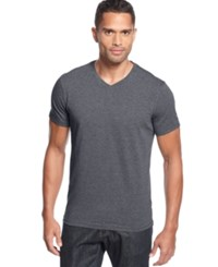 Alfani Slim Fitted V Neck T Shirt Slate Heather