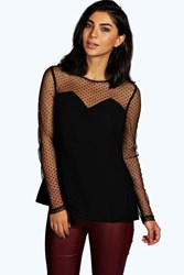 Boohoo Spot Mesh Long Sleeve Blouse Black
