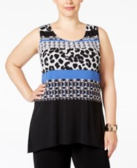Alfani Plus Size Printed High Low Tunic Only At Macy's Structured Animal Blue