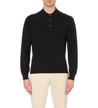 Canali Long Sleeved Knitted Polo Black