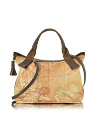 Alviero Martini Free Spirit Softy Dark Brown Fabric And Leather Tote Bag