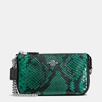 Coach Nolita Wristlet 19 In Python Embossed Leather Silver Forest