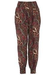 Izabel London Eastern Paisley Print Trousers Pink