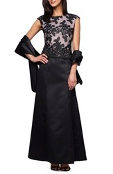 Alex Evenings Petite Women's Embroidered Bodice Satin Gown And Shawl