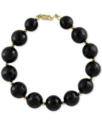 Effy Collection Eclipse By Effy Onyx 12 And 4Mm And Gold Bead Bracelet In 14K Gold Black
