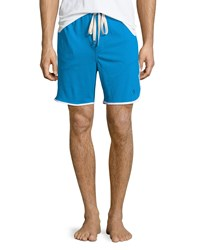 Penguin Jersey Shorts W Contrast Trim Blue