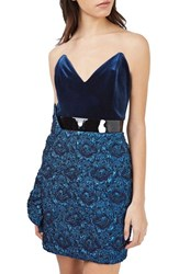 Topshop Women's Velvet And Jacquard Minidress