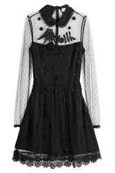 Red Valentino Dress With Embroidered Point Desprit Black