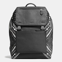 Coach Manhattan Backpack In Bandana Patchwork Leather Black Antique Nickel Black