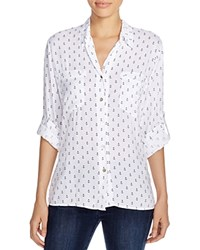 4Our Dreamers Anchor Print Shirt White Navy