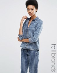 Noisy May Tall Pinstripe Shirt Co Ord Blue