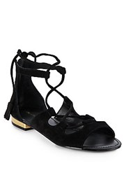 Saks Fifth Avenue Cadence Suede Lace Up Sandals Black