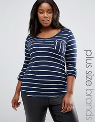 Junarose Plus Striped T Shirt With Zip Pocket Detail Navy