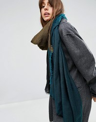 Asos Oversized Lightweight Scarf In Colour Block Teal Blue