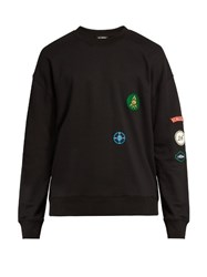 Raf Simons Badge Applique Crew Neck Sweatshirt Black Multi