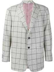 Thom Browne Plaid Boxy Blazer Grey