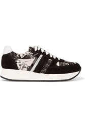 Carven Printed Twill And Suede Sneakers Black