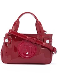 Armani Jeans Mini Logo Embossed Tote Red